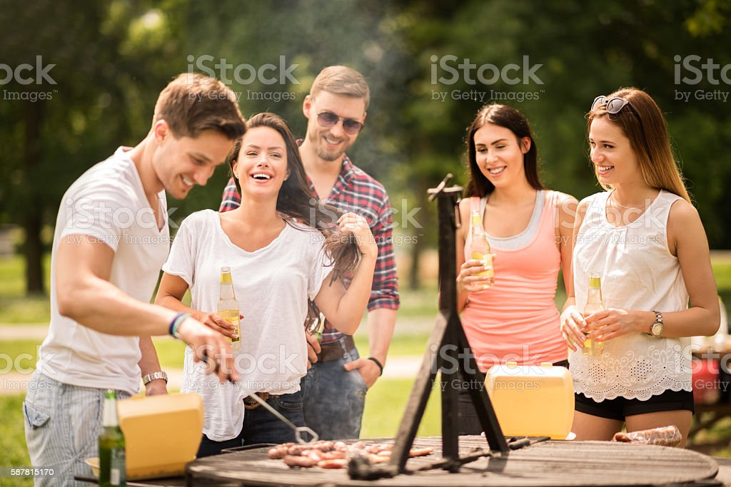 Group of friends on a barbecue picnic stock photo