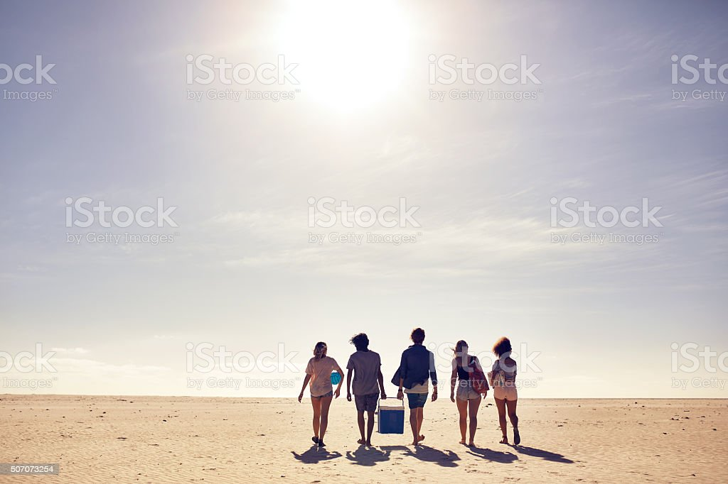 Group of friends on beach vacation stock photo