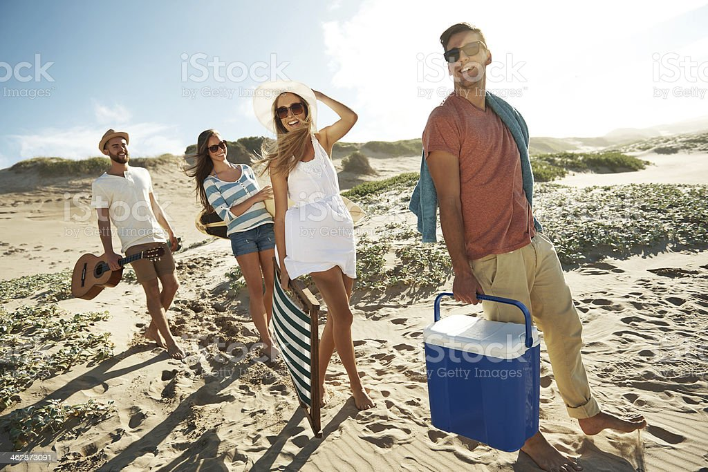 Group of friends on the way to the beach royalty-free stock photo