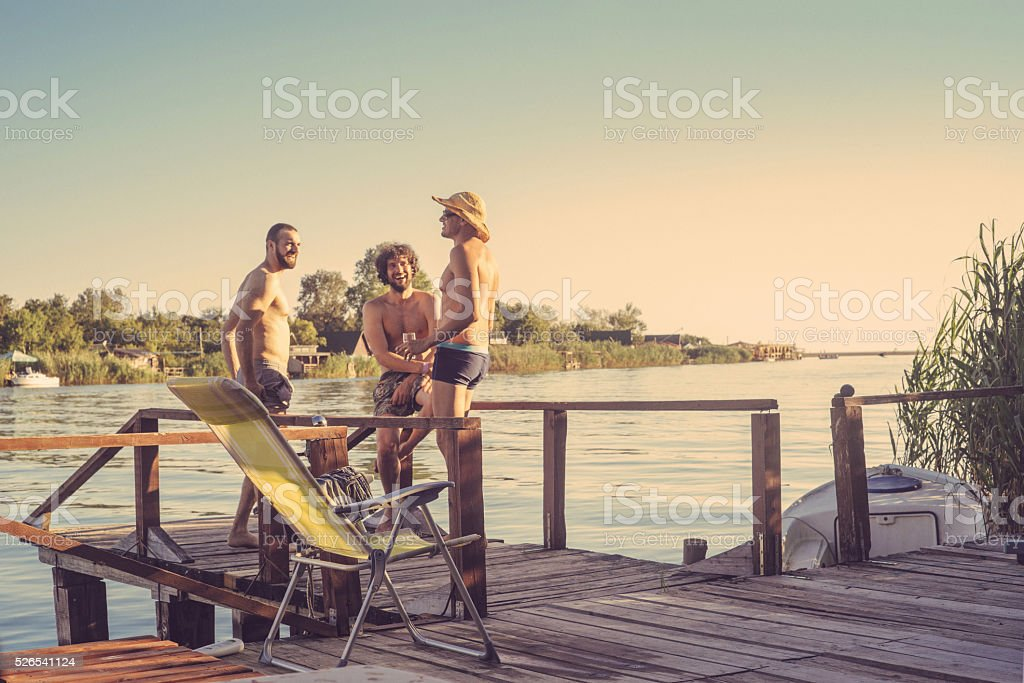 group of friends on vacation stock photo