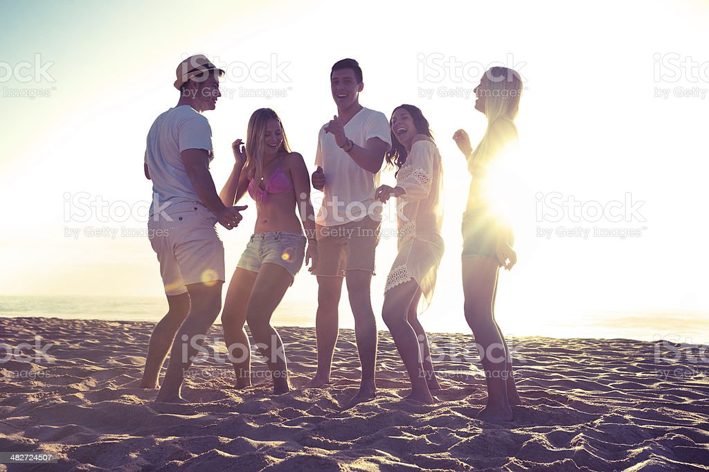 Group of friends partying and dancing royalty-free stock photo