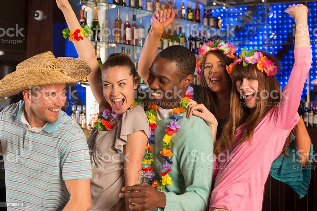 Group Of Friends Partying In A Bar royalty-free stock photo