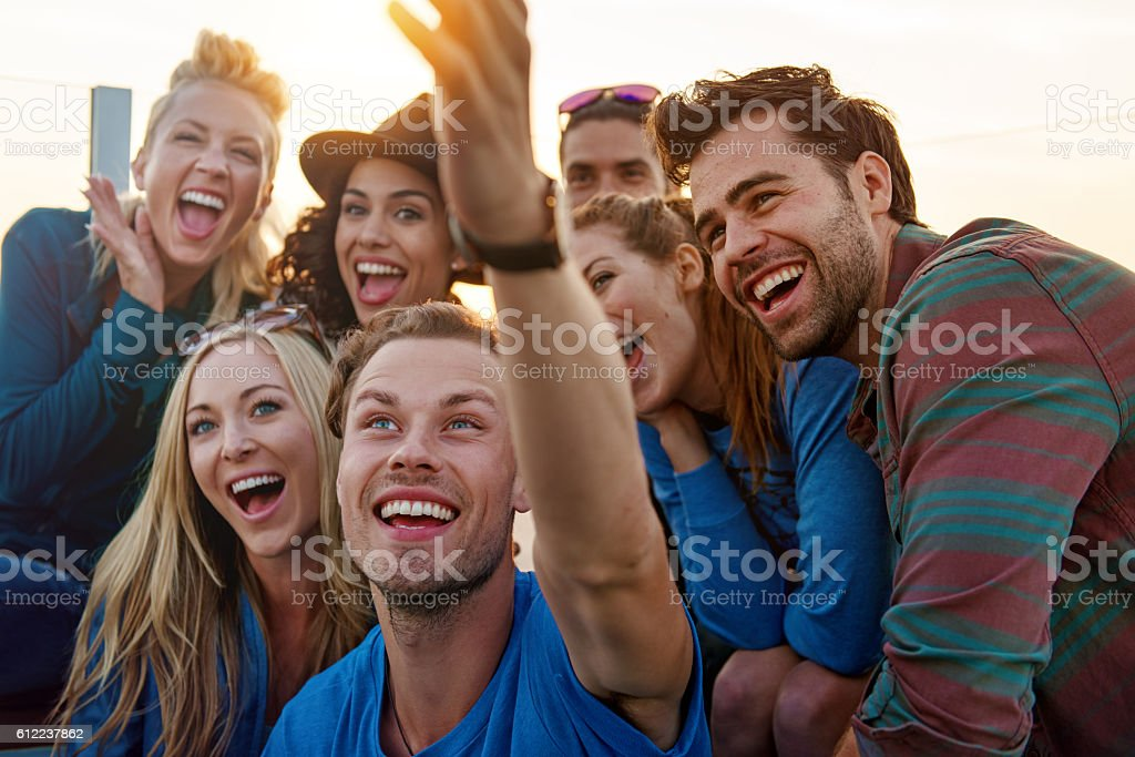 Group of friends partying stock photo