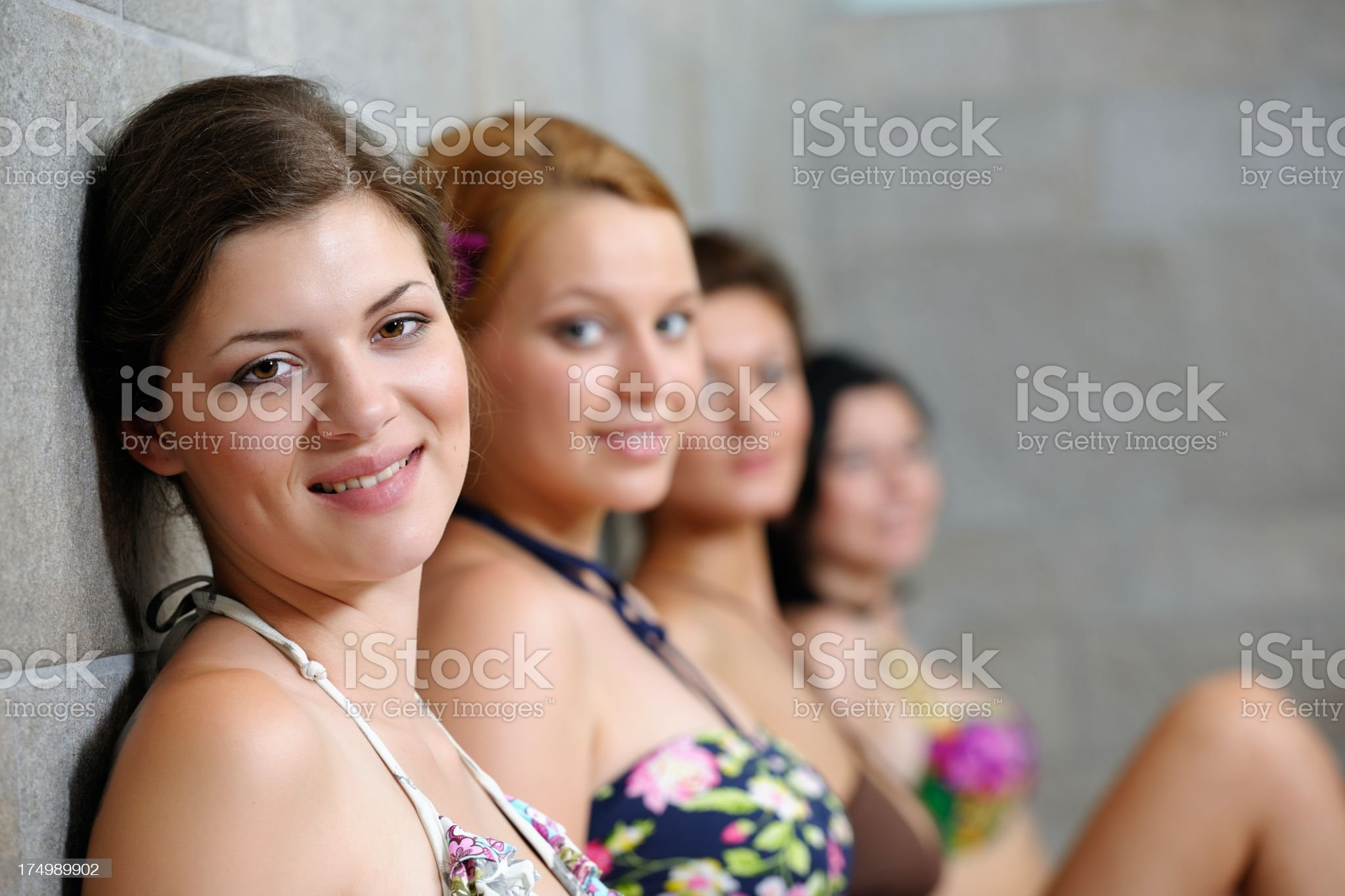 Group Of Friends Relaxing In the Sauna royalty-free stock photo
