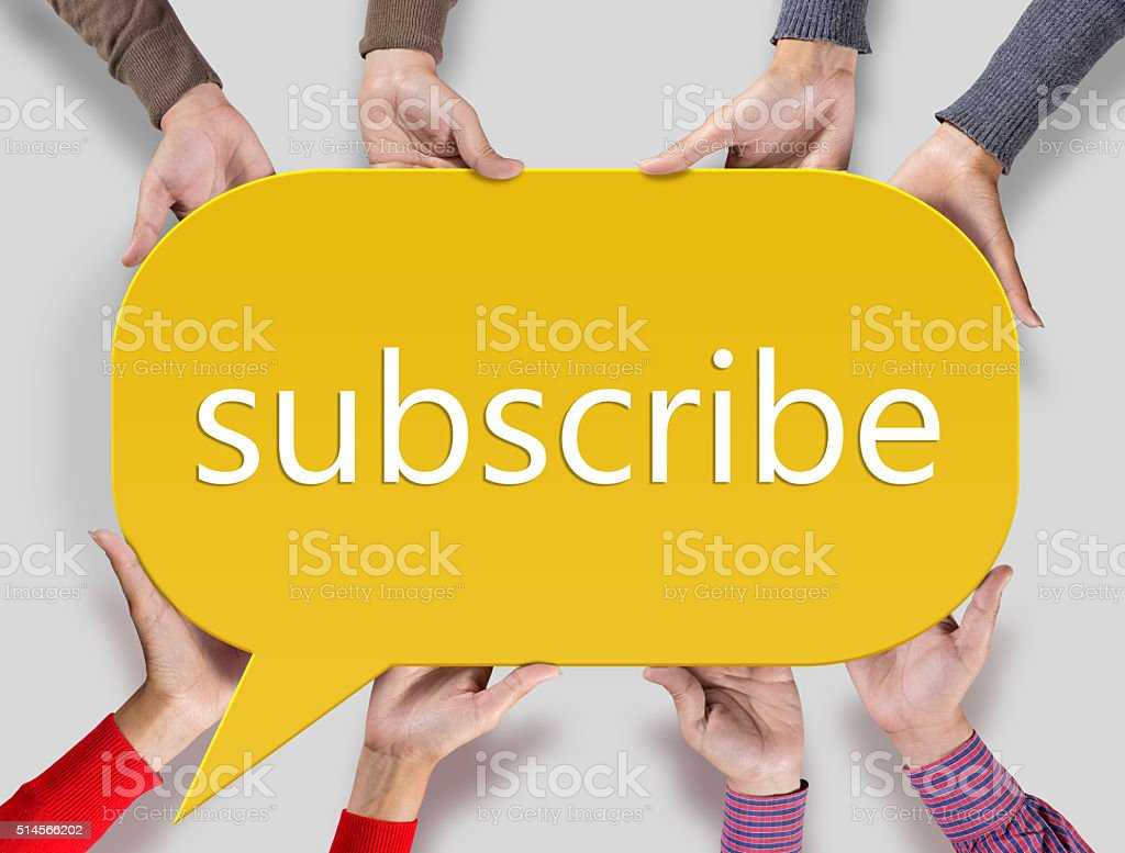 Group of friends showing subscribe sign on speech bubble stock photo