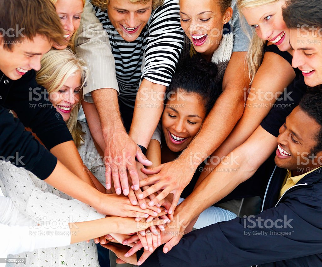 Group of friends showing unity royalty-free stock photo