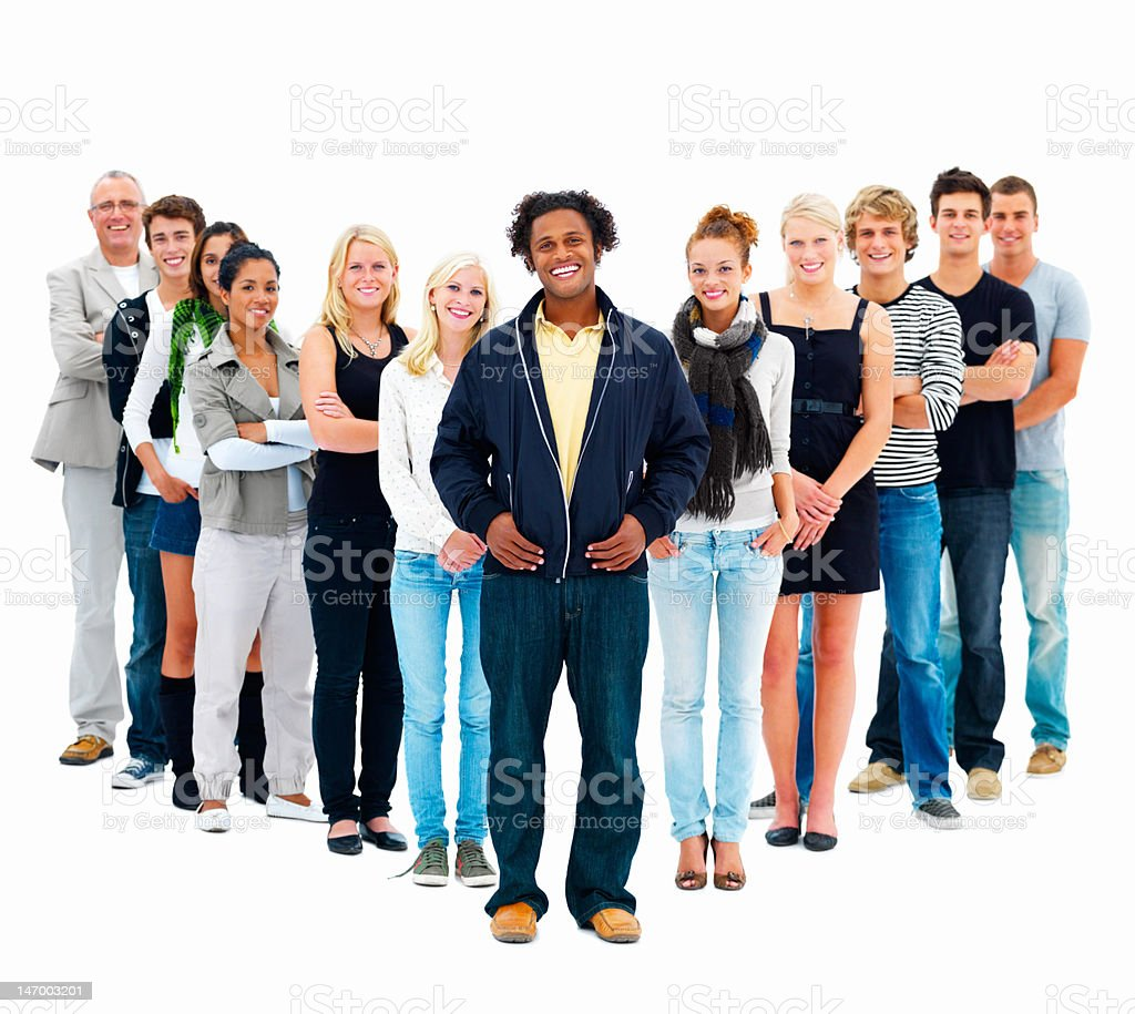 Group of friends smiling royalty-free stock photo