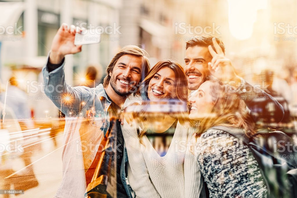Group of friends taking selfie in Istanbul stock photo