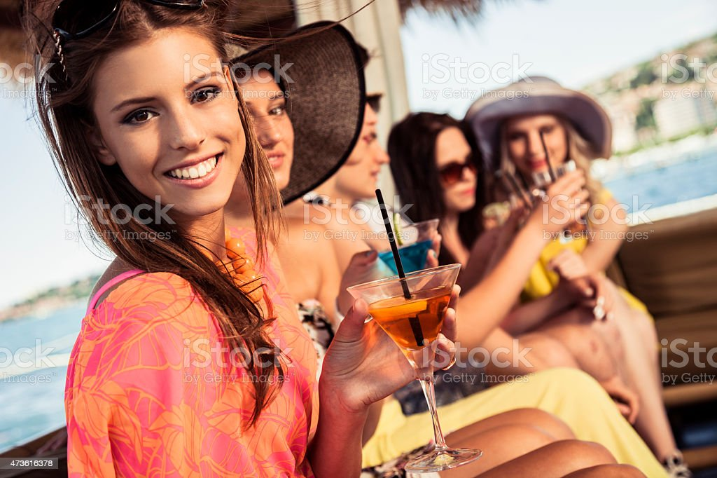 Group of friends toasting at birthday party stock photo
