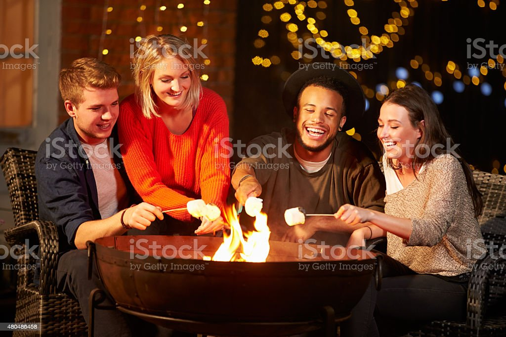 Group Of Friends Toasting Marshmallows By Firepit stock photo