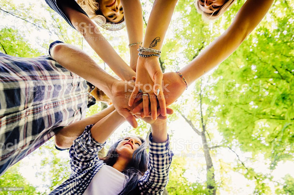 Group Of Friends Together At The Park stock photo