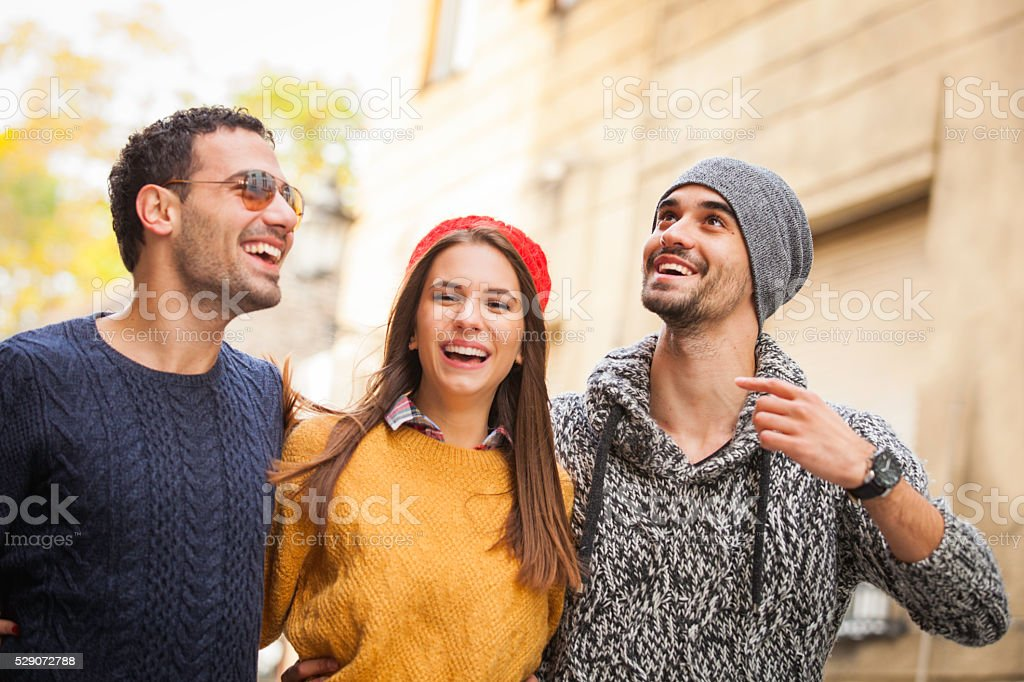 Group of friends tourists stock photo