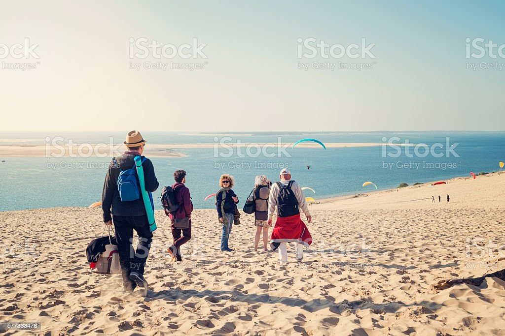 Group of friends walking on beach with warm clothes. stock photo
