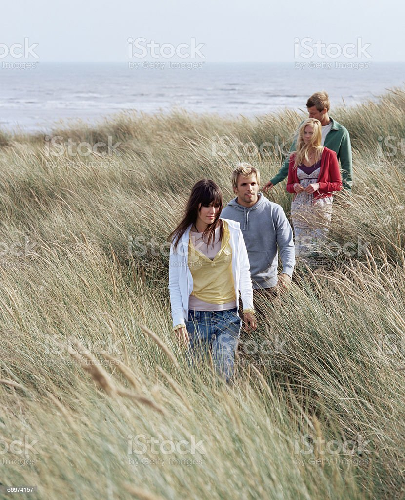 Group of friends walking through field stock photo