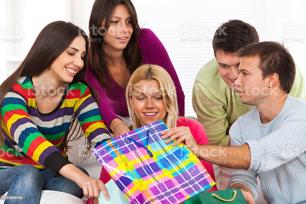 Group of friends with shopping bags royalty-free stock photo