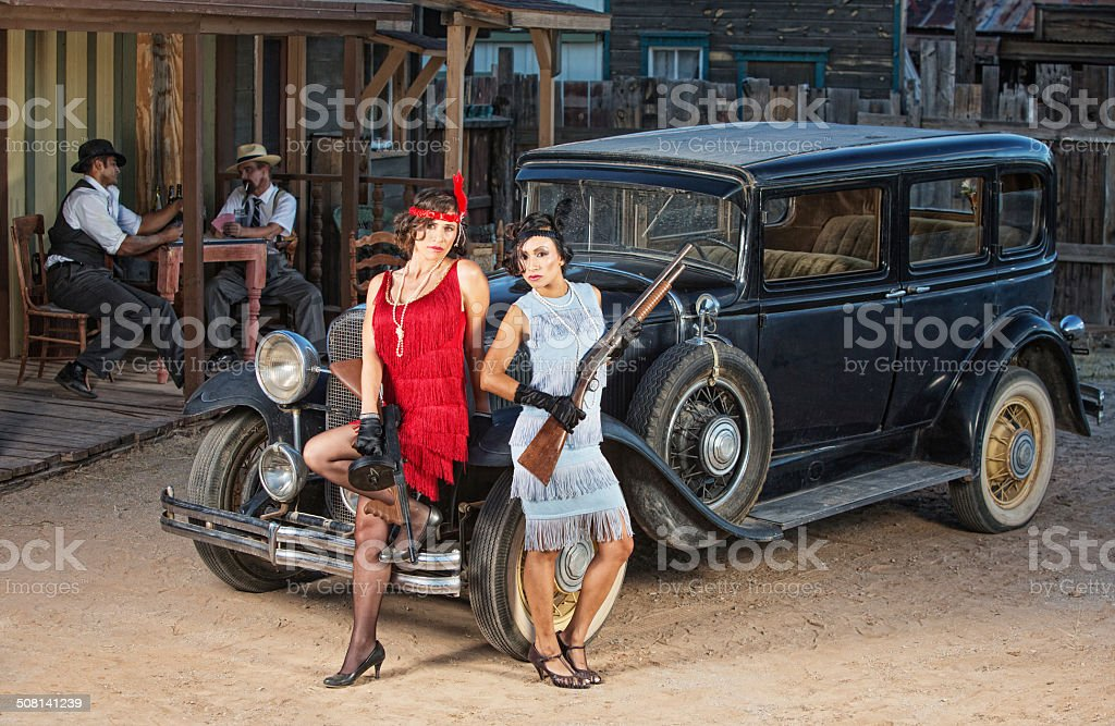 Group of Gangsters Near Old Car stock photo