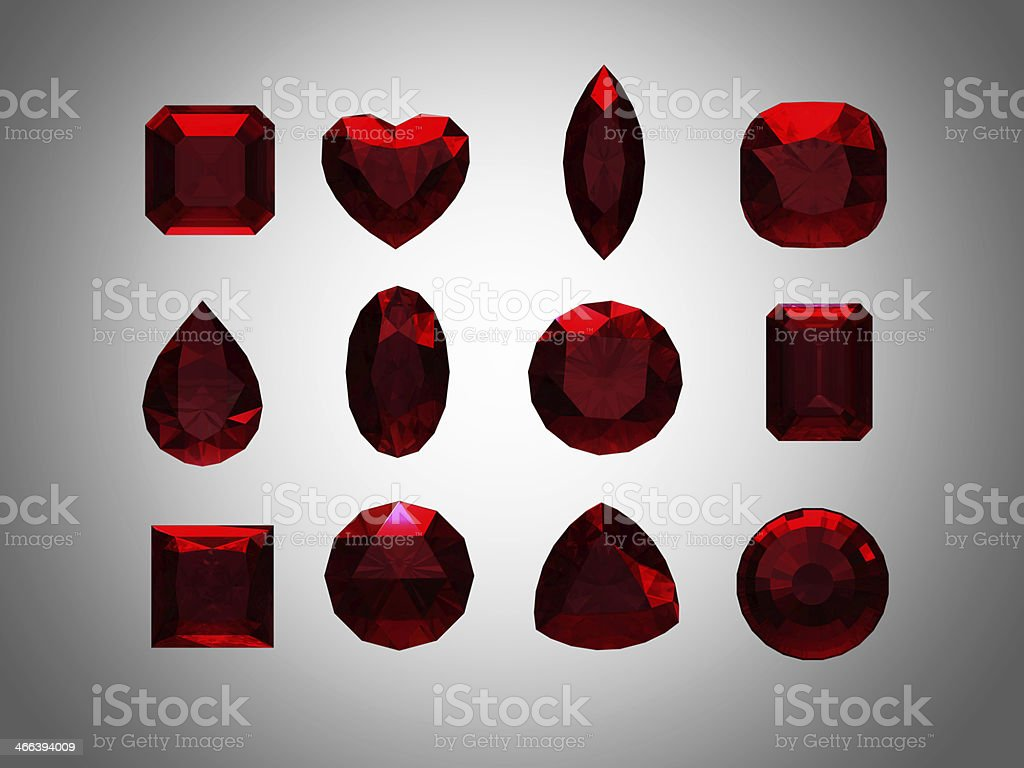 Group of  garnet  shape with clipping path stock photo