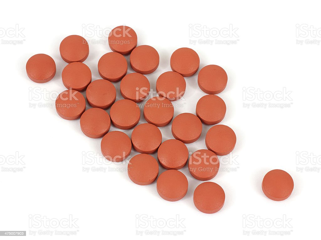 Group of generic ibuprofen pain reliever tablets stock photo