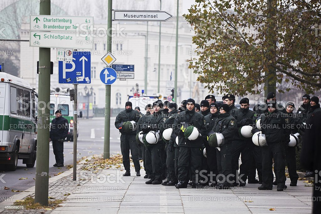 Group of German Riot Police in Berlin royalty-free stock photo