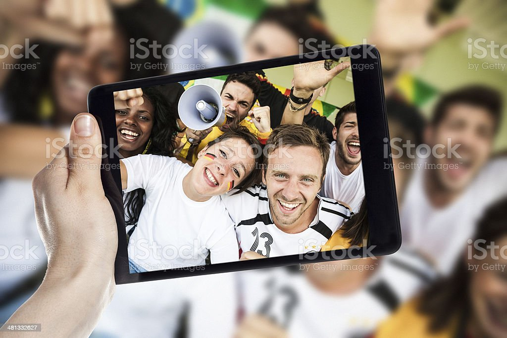 Group of Germany supporters royalty-free stock photo