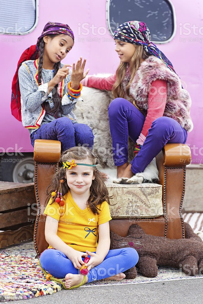 group of gipsy children playing outdoors stock photo