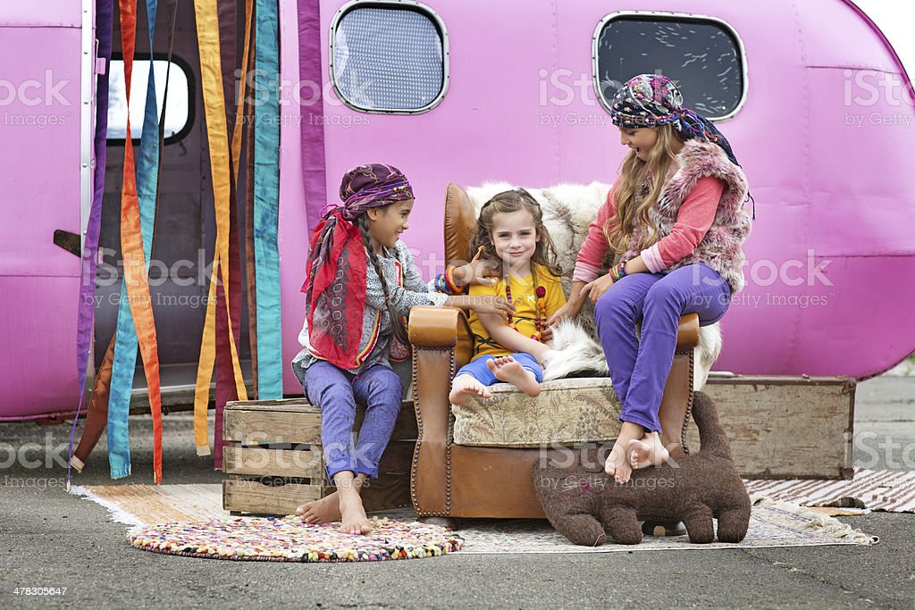 group of gipsy children playing outdoors royalty-free stock photo