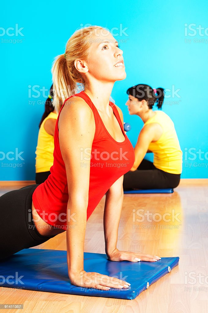 Group of girls exercise fitness royalty-free stock photo