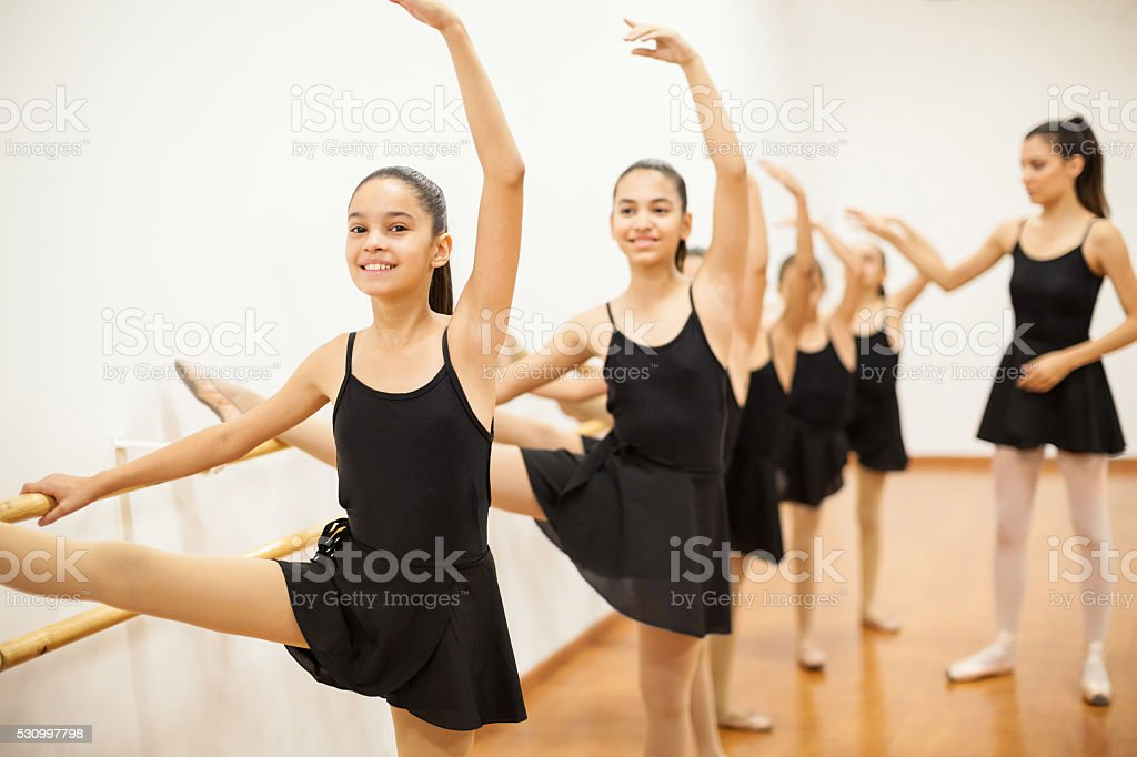 Group of girls in a real ballet class stock photo