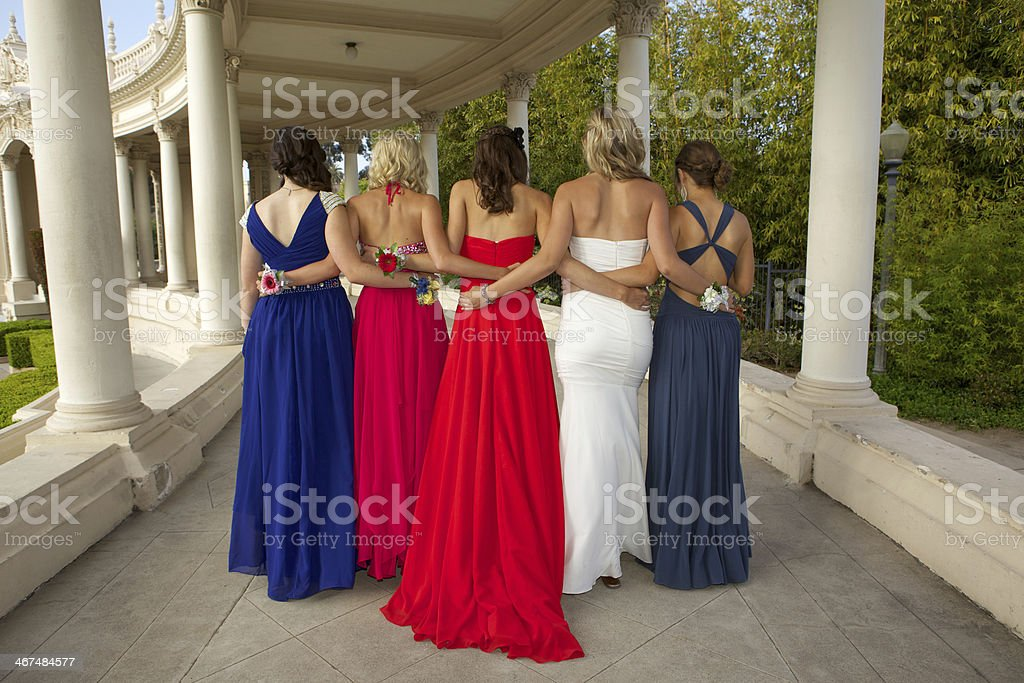 Group of Girls in Prom Dresses Rear View stock photo