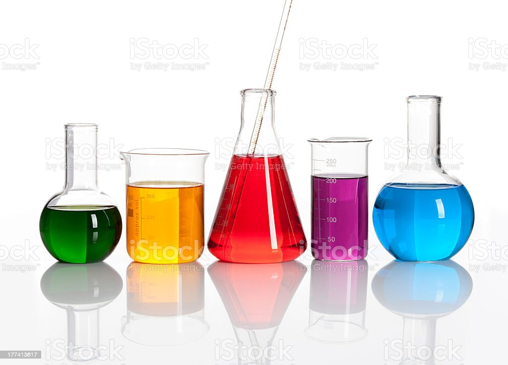 Group of glass flasks with a colored liqiuds stock photo