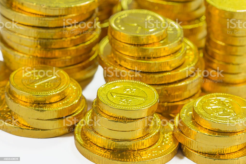 Group of gold coins business money stock photo