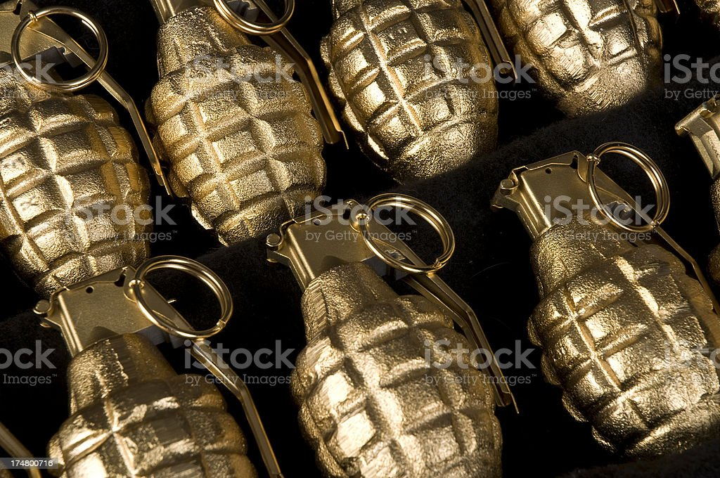 Group Of Gold Hand Grenades Weapons Terrorism stock photo
