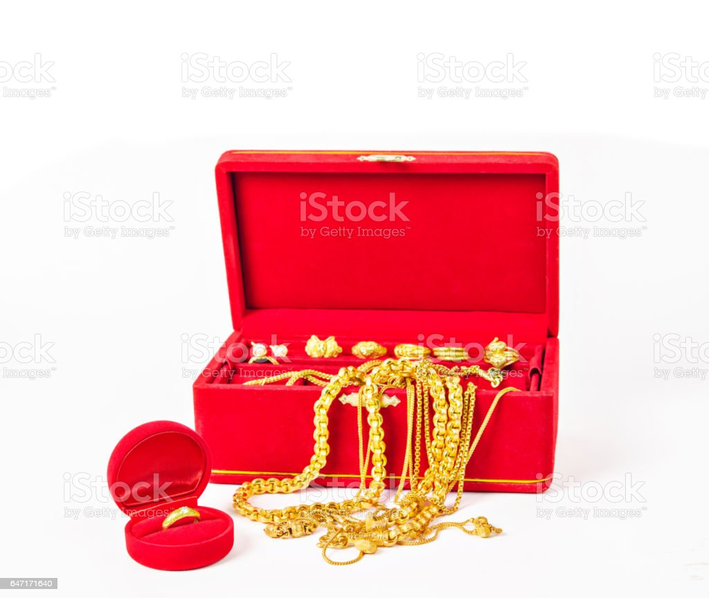 Group of gold necklace stock photo