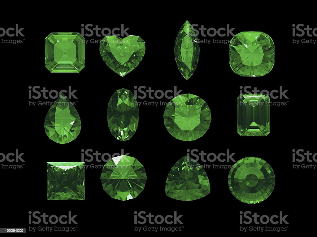 Group of green tourmaline shape with clipping path stock photo