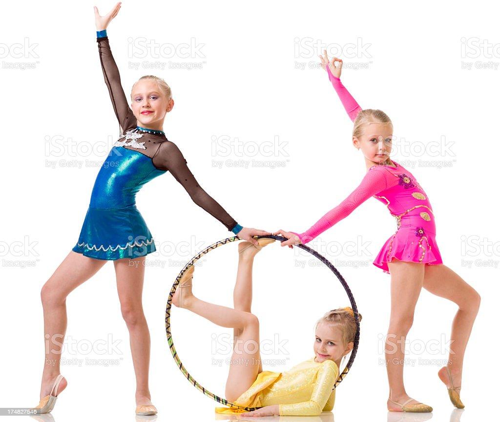 Group of Gymnast girls on white background stock photo