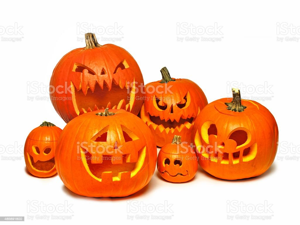 Group of Halloween Jack o Lanterns over white stock photo