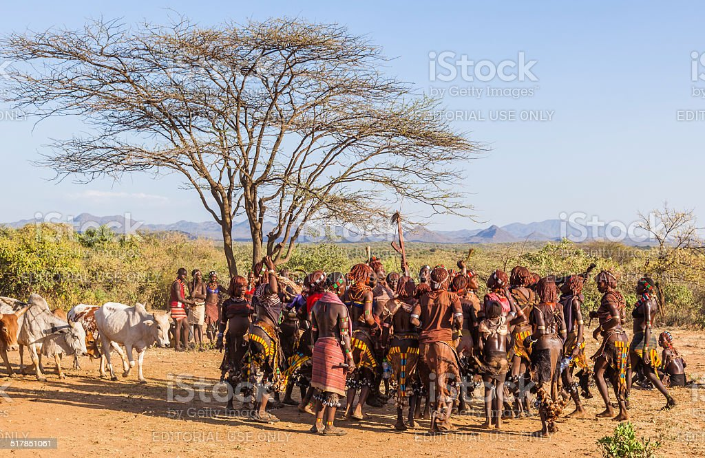 Group of Hamar women dance at bull jumping ceremony. stock photo