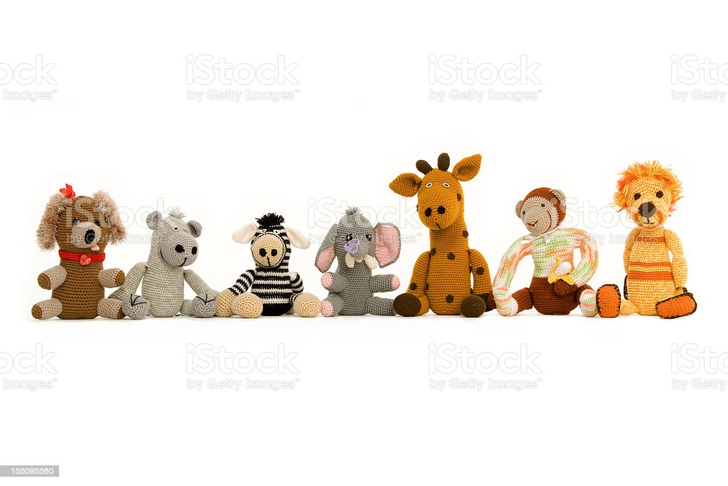Group of Handmade Stuff Toys royalty-free stock photo