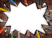 Group of Hands Holding Comic Explosion