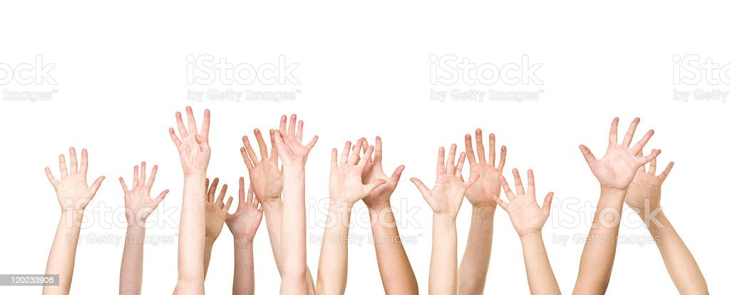 Group of Hands in the air stock photo