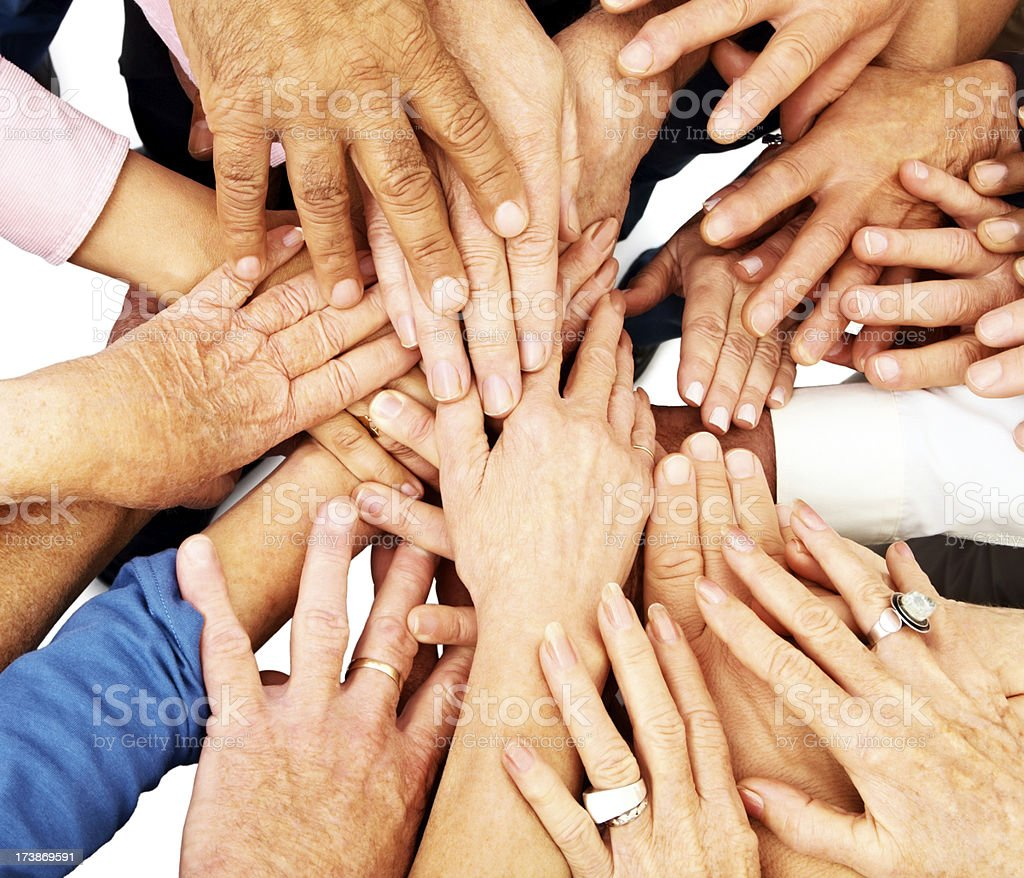 Group of hands together royalty-free stock photo