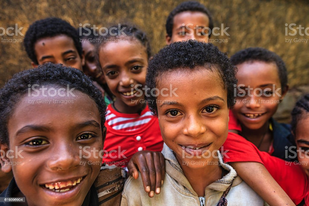 Group of happy African children, Ethiopia, East Africa stock photo