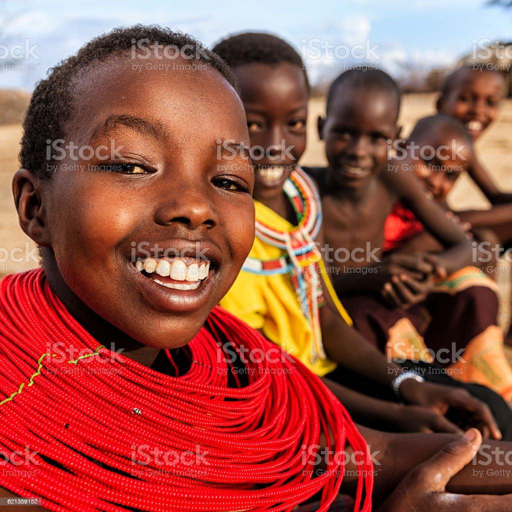 Group of happy African children from Samburu tribe, Kenya, Africa stock photo