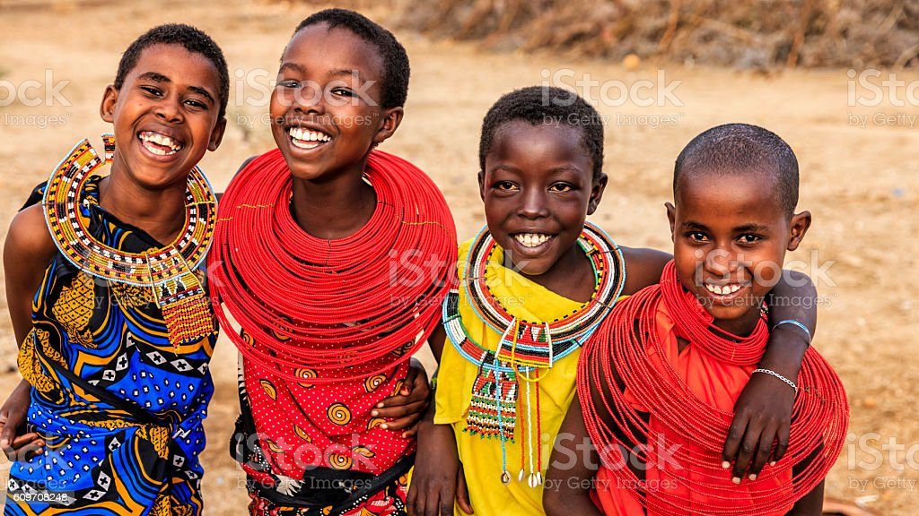 Group of happy African girls from Samburu tribe, Kenya, Africa stock photo
