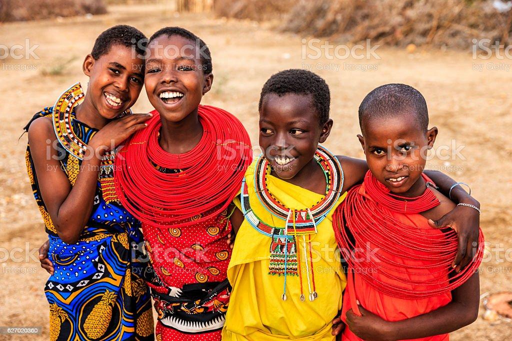 Group of happy African girls from Samburu tribe, Kenya, Africa stock photo