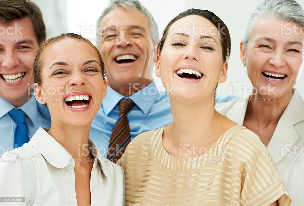 Group of happy and cheerful business people stock photo