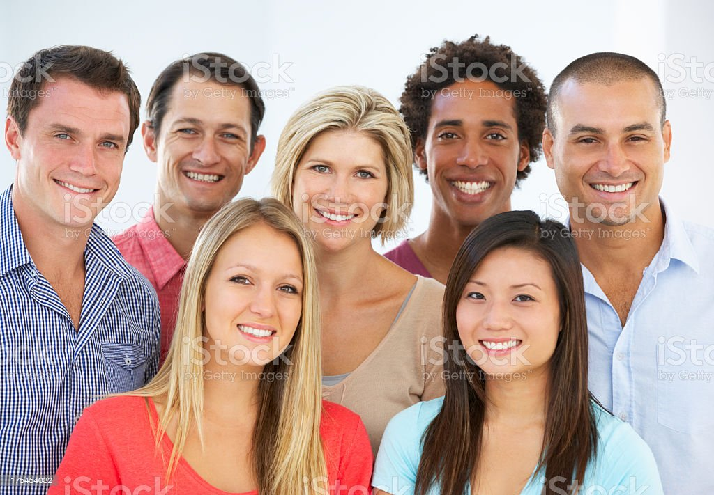 Group Of Happy And Positive Business People In Casual Dress stock photo