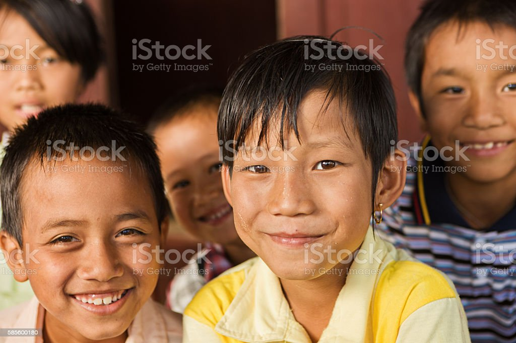Group of happy Burmese children stock photo