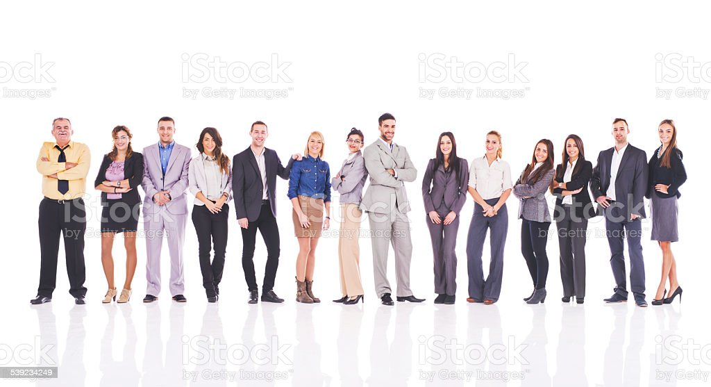 Group of happy business people standing in a line. stock photo