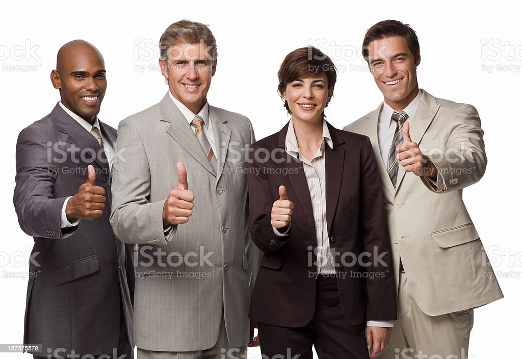 Group of happy businesspeople showing thumb's up sign royalty-free stock photo